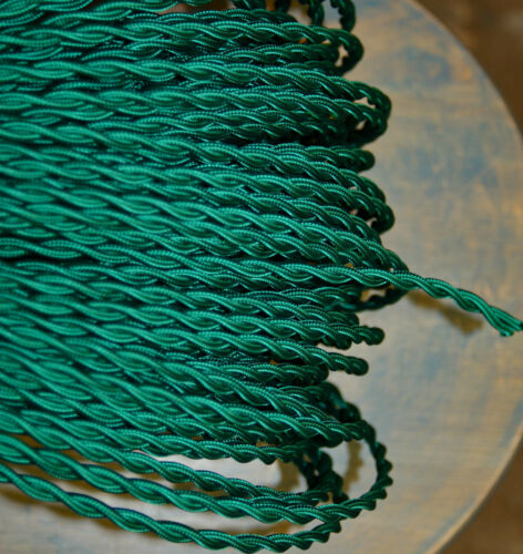 Teal Twisted Cloth Covered Electrical Wire Braided Rayon Fabric Wire