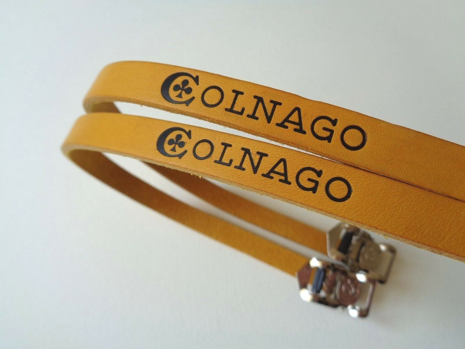 Rare NOS Vintage 1980s COLNAGO tan yellow Italian leather pedal toe straps