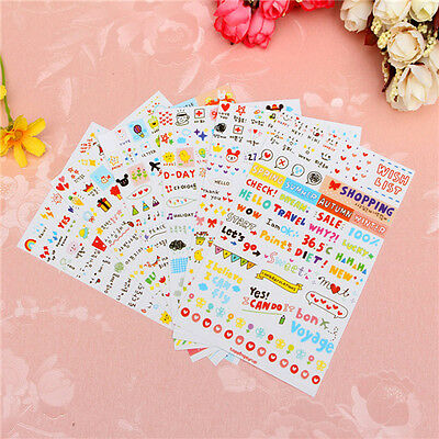 6 Sheets Word Expression Diary Album Sticker Scrapbook Calendar Planner Decor