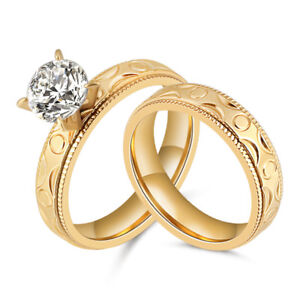 Women-039-s-Stainless-Steel-Gold-Cut-CZ-Wedding-Engagement-Rings-Band-Set-Size-7-10