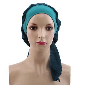Women-Bonnet-Turban-Hat-Head-Scarf-Wrap-Chemo-Bandana-Muslim-Hijab-Cap-Beanie-KS