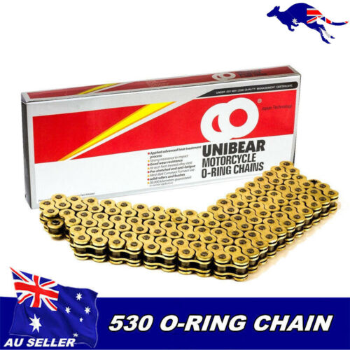 Gold 530x120 O-Ring Chain Motorcycle 530 Pitch 120 Links w/' Connecting link AU