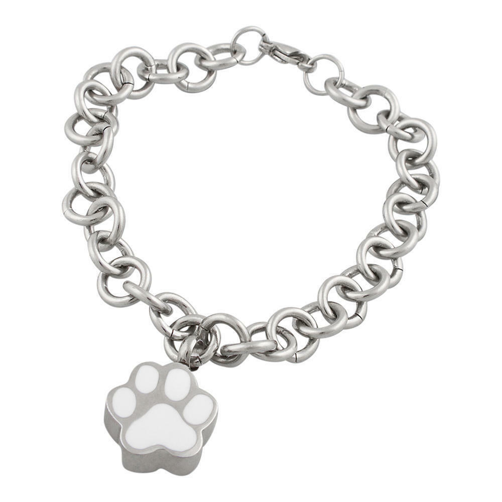 Perfect Memorials Paw Charm Stainless Steel Charm Bracelet 81 2  Long