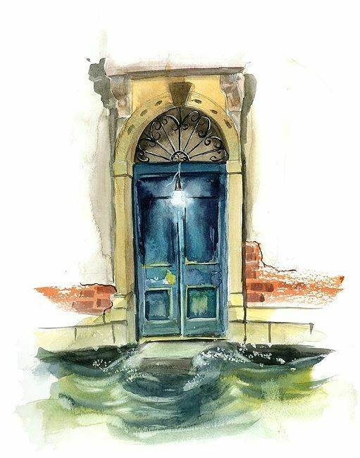 Olga Shefranov  Venice Keilrahmen-Bild Leinwand Venedig Tür Portal Palazzo