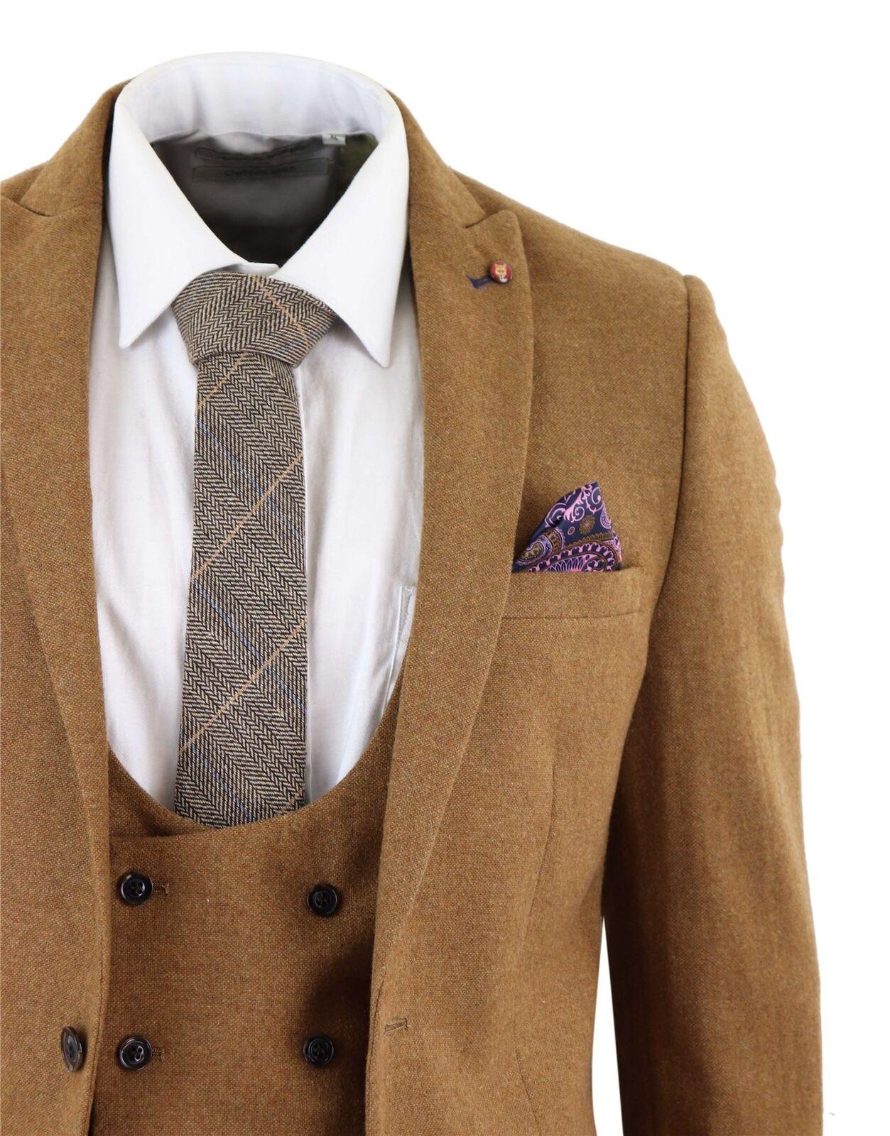 Costume homme tweed laine mélangée brown 3 pièces slim vintage veston croisé
