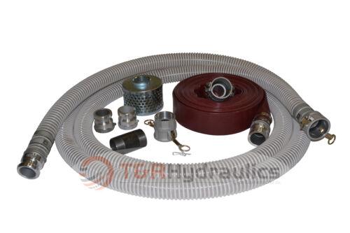 "2/"" Flex Water Suction Hose Trash Pump Honda Complete Kit w//50/' Red Disc"