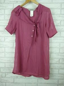SportsMax-by-Max-Mara-mulberry-pink-bow-neck-top-blouse-size-UK-8-Shortsleeve