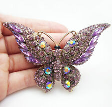 Gold Tone Purple Butterfly Insect Woman Brooch Pin Rhinestone Crystal
