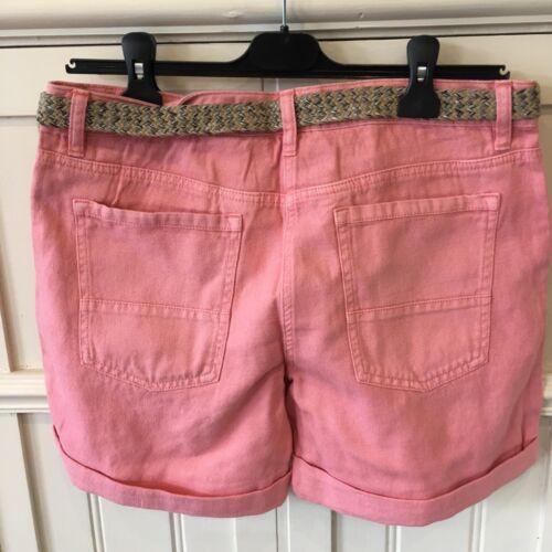 NUOVO corallo rosa salmone Donna Tasca Cotone Misto Lino Pantaloncini Con Cintura 6-18
