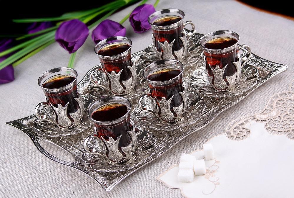 25 pcs set thé turc lunettes avec poignée titulaire soucoupes cuillères & BAC