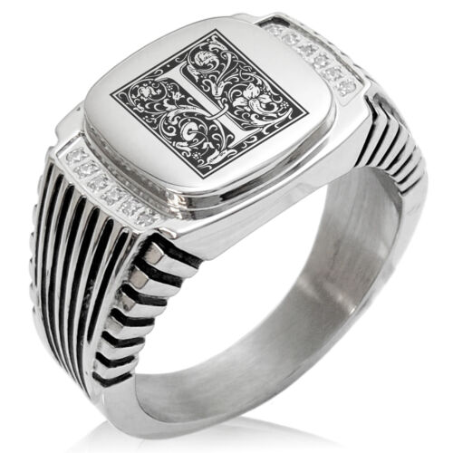 Stainless Steel Mens Royal Box Monogram Initial CZ Striped Biker Signet Ring