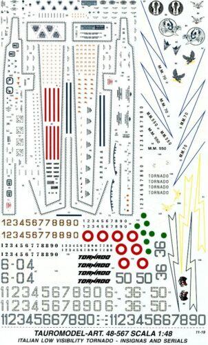 TM48//567 INSEGNE LO-VIZ Tauro Model NUMERI E STENCILS PER TORNADO A.M.I