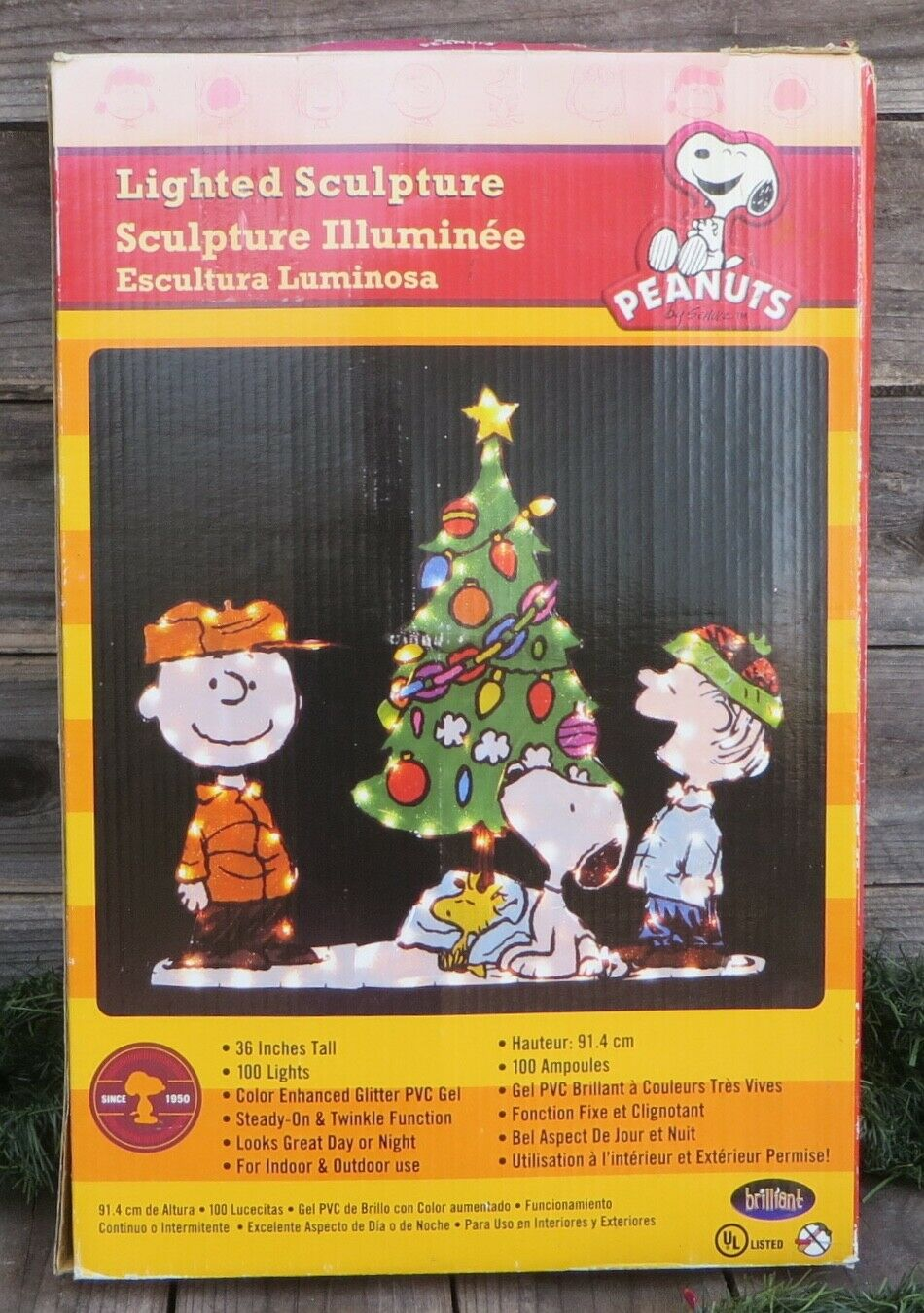 Peanuts Snoopy Christmas Tree Charlie Brown Yard Art Lighted Outdoor Decoration