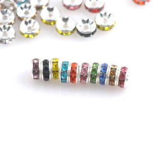 100Pcs-Crystal-Rhinestone-Silver-Rondelle-Spacer-Beads-Jewelry-Making-DIY-Craft