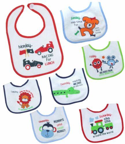 Babyprem Baby Jungen Mädchen 7 Packung Tage der Woche Plastik Rücken Lätzchen