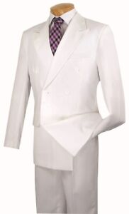 e40e4b5d26aeb Details about Men's Formal Suit Double Breasted 6 Buttons Classic Fit Solid  White DC900-1