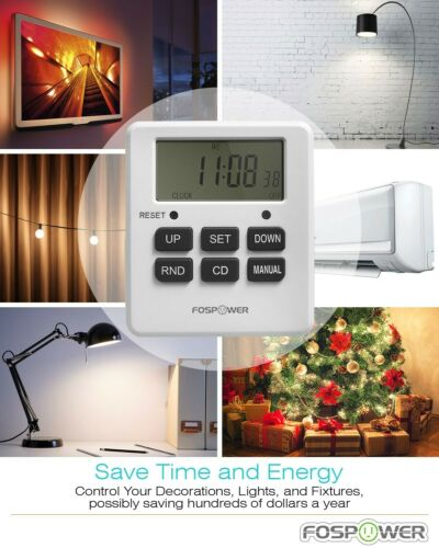 7Day Digital Electric Programmable Kitchen Wall Timer Switch Dual Outlet Plug