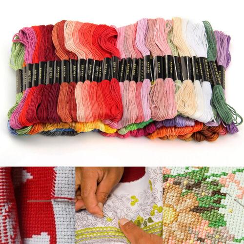 100x mélange coton couleur Écheveaux Fil de Broderie Croix Tresse Craft Sewing