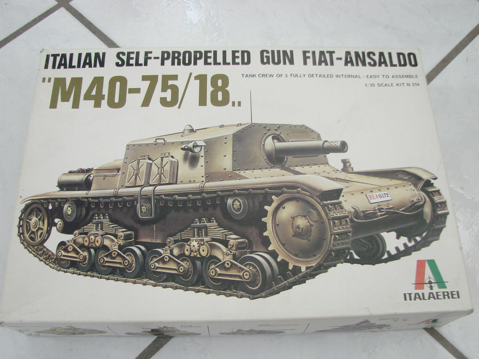 Italaerei Italian Self Propelled Gun Fiat-Ansaldo tank 1 35  model kit set italy