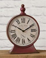 Farmhouse Chic Rustic Vintage Antique Style Red Clock Standing Mantel Clock