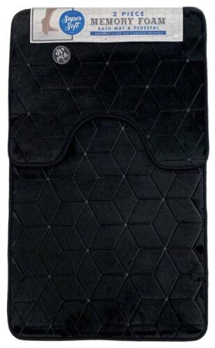 Cubes Memory Foam Bath /& Pedestal Mat Sets Non Slip Soft Luxury Bathroom Rugs GC