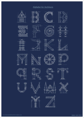 A2 A1 A3 A4 sizes Architecture Type Alphabet Poster