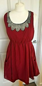 Ladies-Rare-London-Dress-Red-Sequin-Detail-Floaty-Party-Evening-Size-12-B45