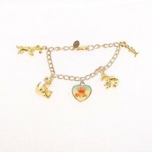 Details About Disney Winnie The Pooh Charm Bracelet Original Box Characters Goldtone