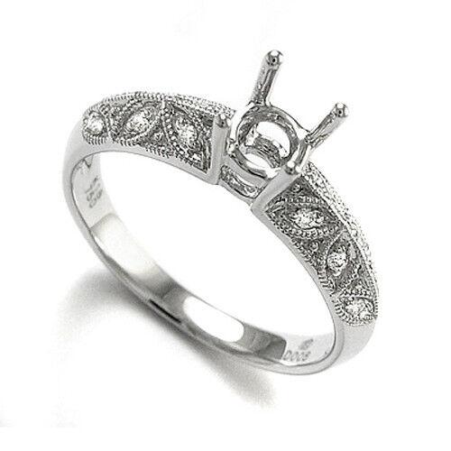 18k White gold G-SI1 .12 CT Diamond Semi-Mount Ring Setting Ring Sizes 4 - 9.5