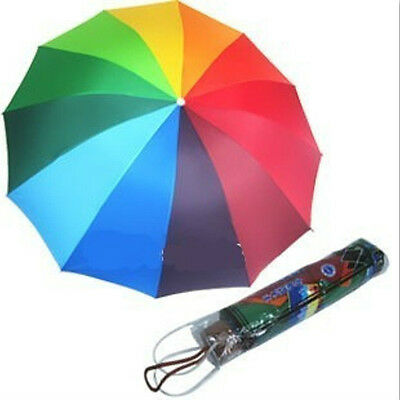 1pcs Brand New 12  Colors Strong Ribs Rainbow Umbrella For Rain and Shine  Free