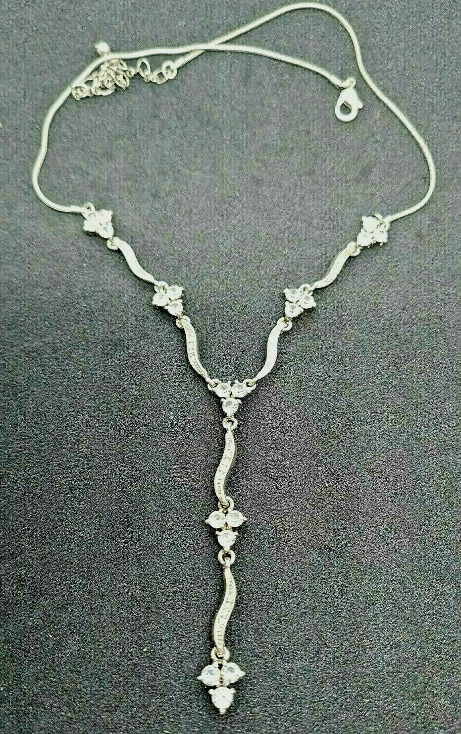 Vintage Waterfall Silver Crystal Choker Victorian Necklace 925 Silver Boxed
