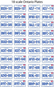 ONTARIO CANADA LICENSE PLATE DECALS FOR 1:18 SCALE CARS