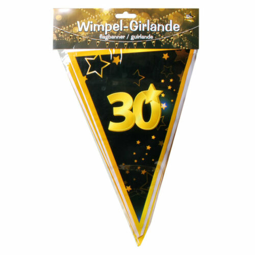 10 Meter Wimpel Girlande 30 Jahre Geburtstag Party Dekoration Deko 0.60€//1m