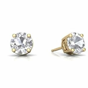 Image Is Loading 2 Ct White Topaz Round Stud Earrings 14kt