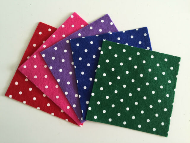 "**SALE** Polka Dot Wool Mix Felt Pack (each piece 5"" x 5"") Choice of Colours"