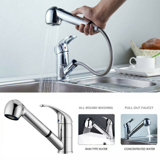 Kitchen Sink Chrome Single Handle Mixer Tap Swivel Pull Out Spray Faucet Spout