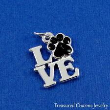 Silver Love Pawprint Charm - Pet Lover Paw Print Cat Dog Pendant NEW