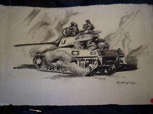 G Edmond Dargouge 1897 1990 Grand Dessin Char Tank Peintre Officiel Armee Ebay