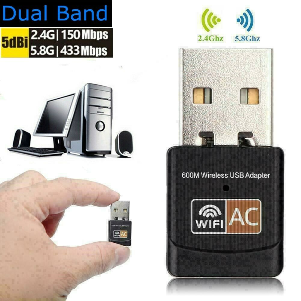 600Mbps Wireless USB Wifi Adapter Dongle Dual Band 2.4G 5GHz
