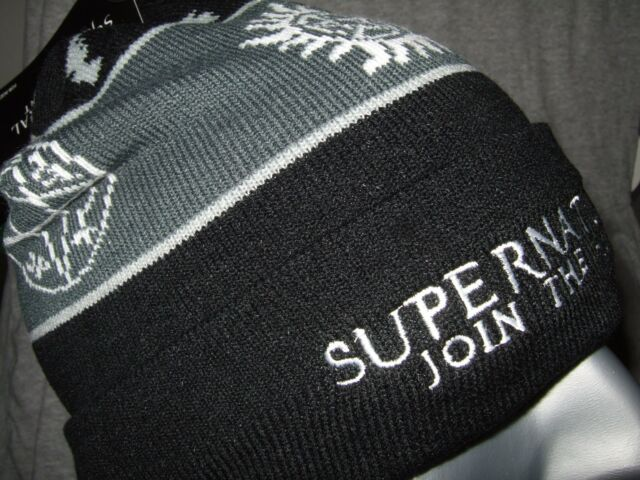 6ec3ec7f8d6 NWT Black Supernatural Join The Hunt Symbol Pom Watchman Knit Beanie Hat  Ski Cap