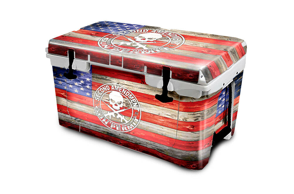 USATuff Cooler Wrap Decal 'Fits New Mold' RTIC 45QT FULL 2nd USA Flag Wood color