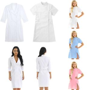 Women's Scrub Lab Coat Medical Nurse Doctor Uniform Dress Jacket Cosplay Costume