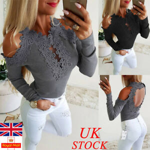 Womens-Cold-Shoulder-Lace-Floral-Tops-Ladies-Backless-Fit-Blouse-Shirts-Party
