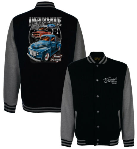 Details about  /Velocitee Baseball Varsity Jacket Classic Ford F1 Pick Up Hotrod Hot Rod A17948