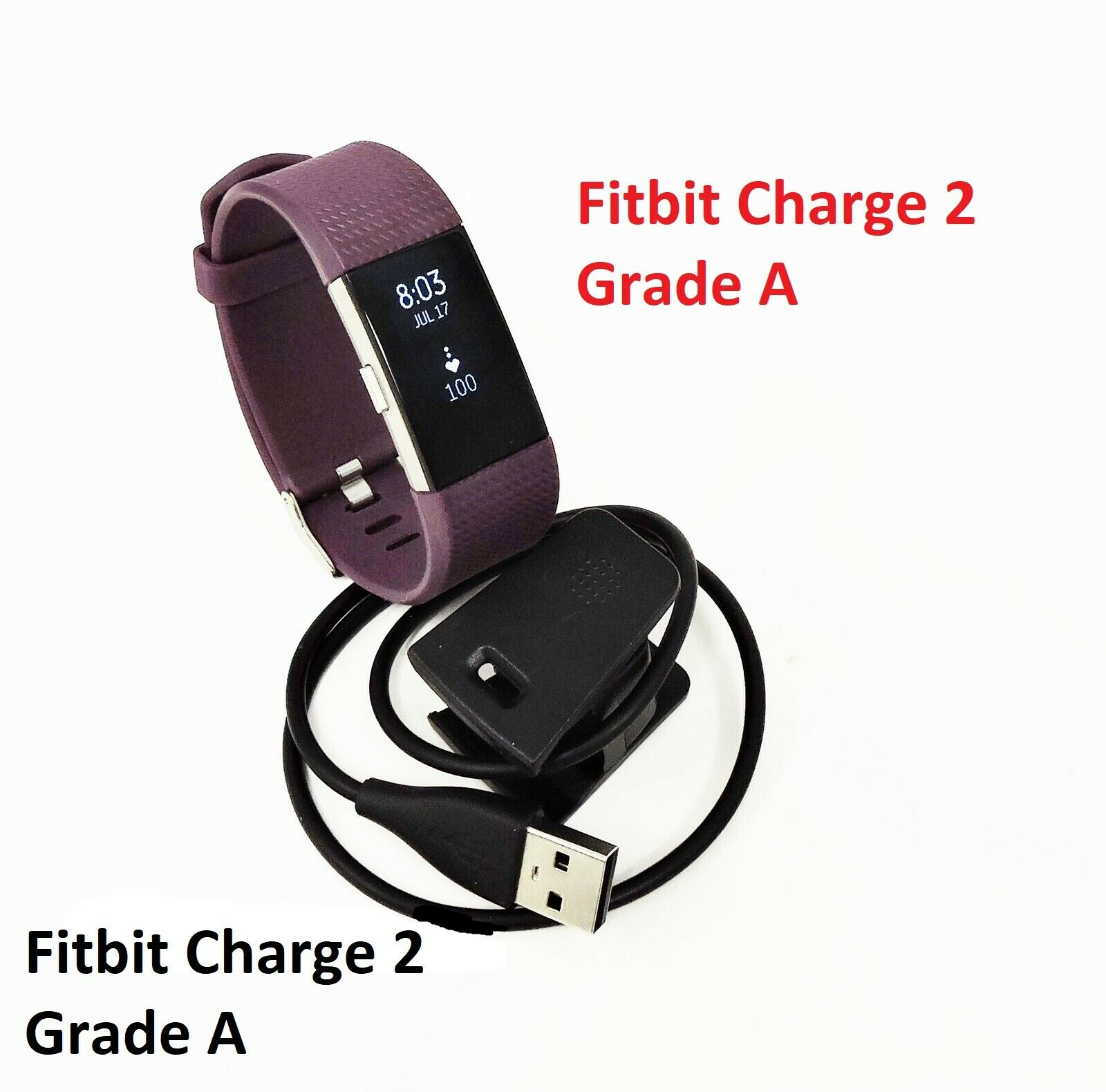 Fitbit Charge 2 Heart Rate Fitness Sleep Tracker Plum Large Grade A charge Featured fitbit fitness grade heart large plum rate sleep tracker