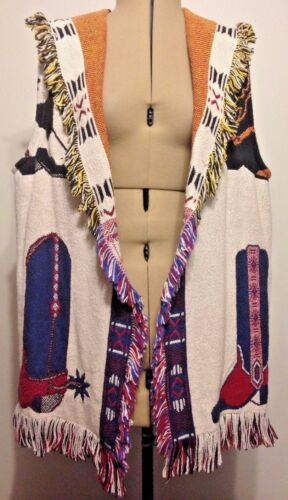 Vintage Western Cowboy Boot Knit Fringe Vest Tapes
