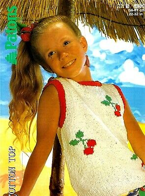 """30/"""" Cotton Top Patons 7419 Knitting Pattern Girls Sweater /& Vest Summer Top 22/"""""""