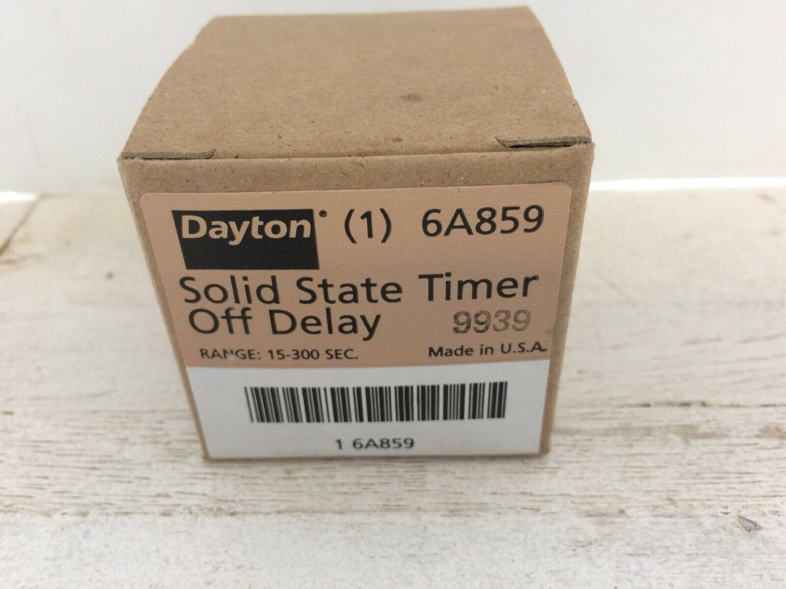 Dayton 6A859 Encapsulated Solid State Timer Relay 15-300 SEC on