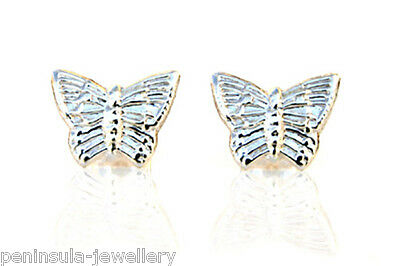 9ct White Gold Earrings Butterfly studs Gift Boxed Made in UK