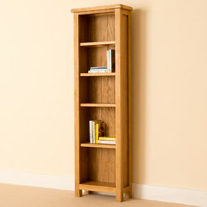 Lanner Oak Narrow Bookcase Shelving Rustic Oak Tall